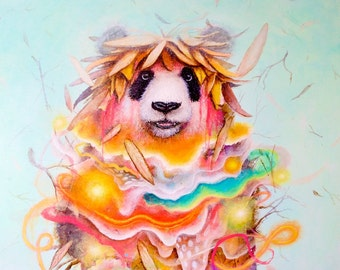 Panda Bear Art - Art Print - Square Art - Surrealism - Pop Art - Nature - Abstract