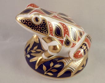 Royal Crown Derby Imari Frog Paperweight, Ceramic Stopper