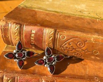 Garnet and sterling silver vintage earrings