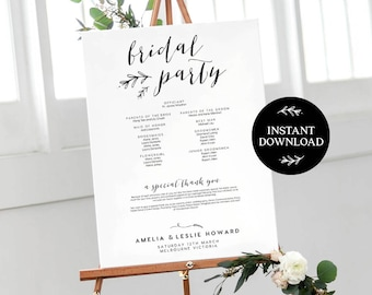 Bridal Party Sign INSTANT DOWNLOAD Editable PDF, Wedding Welcome Sign, Printable Wedding Thank You, Rustic Welcome Sign - Lilly