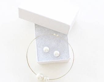 Pearl Jewelry Set/ Pearl Bangle/ Pearl Cuff/ Pearl Studs/ Cabochon Earrings/ Pearl Stud Earrings/ Bridal Jewelry Set/ Bridesmaid Jewelry, 2B
