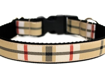 "Plaid Dog Collar 1"" Winter Dog Collar"