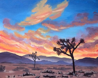 Joshua Tree Desert Sunset California Acrylic Painting, Original