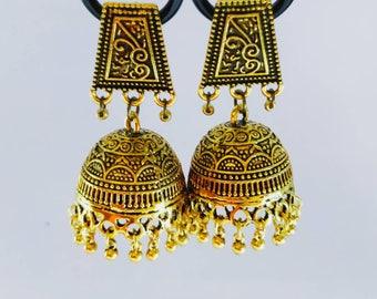 Gold tone Jhumka Earrings