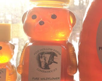 Pure Wildflower Honey, Honey, Raw Honey, Connecticut Honey, Honey Bee Preserves, 8 ounce bottle