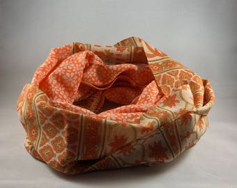 Fair trade circle scarf infinity scarf handmade in India block printed orange scarf