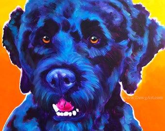 Portuguese Water Dog, Pet Portrait, DawgArt, Dog Art, Pet Portrait Artist, Colorful Pet Portrait, Pet Portrait Painting