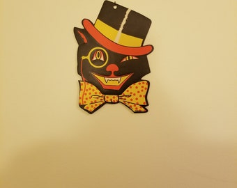 Vintage 1950s H.E. Luhrs Die Cut Halloween Black Cat with Top Hat and Monocle Halloween Decoration Die Cut Vintage Halloween Decor