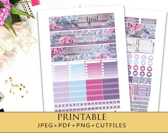 2018 APRIL MONTHLY VIEW Planner Stickers/ Printable Planner Stickers for Erin Condren Life Planner/Monthly Kit/ April Sticker Set/Silhouette