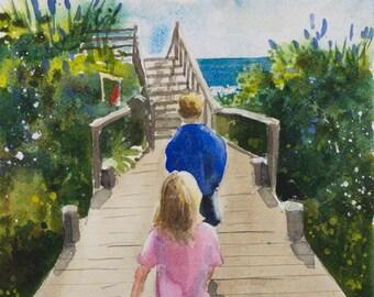 Beach Bound Watercolor Print, Bodega Bay, Children, Summer Day, Blue, Green