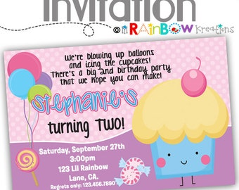 092: DIY - Cute Cupcake Party Invitation Or Thank You Card