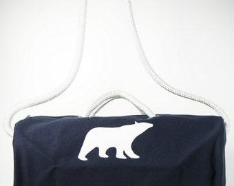 Blue Duffel bag w/ polar bear and white stitching