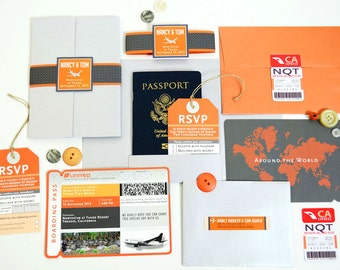 NANCY Passport and Boarding Pass for Destination Wedding in Lake Tahoe Airline Plane Ticket Travel Inspired Invite Suite Orange Silver Gray