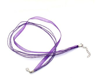 2 Purple 43 cm waxed cotton thread and organza Ribbon necklaces