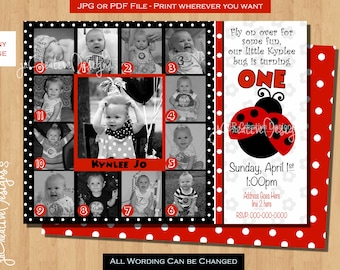 ladybug invite Ladybug Birthday invitation lady bug birthday party 12 month invitation ladybug party ladybug invitation 1 year photo picture