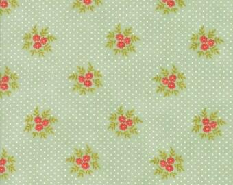 Fig Tree Fabric - Ella and Ollie Fabric Yardage - Moda Quilt Fabric - Aqua Green Floral Dot Fabric By The 1/2 Yard