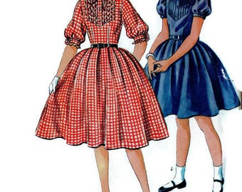Simplicity 4880 Junior Girls Rockabilly Style Circle Skirt Dress Puff Sleeves 1950s Size 8 Bust 26