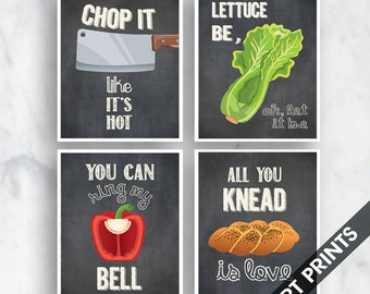 Chop it, Lettuce Be, Bell, Knead Love (Funny Kitchen Song Series) Set of 4 Art Prints (Featured in Vintage Chalkboard) Kitchen Art