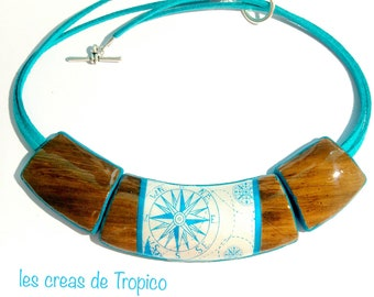 Brown turquoise compass sea compass rose necklace gift polymer clay centerpiece treasure hunt