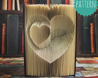 Inverted Folded Heart Within Pattern How to guide and tutorial Folded Book Art Pattern