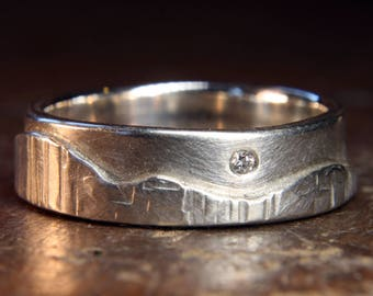 """Walk On The Hills """"Multi-Textured"""" ladies wedding ring. Recycled sterling silver & ethical lab grown moissanite. Hand made in the UK."""