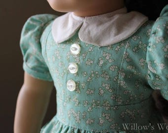 "1940's Mint Green Floral Dress for 18"" American Girl Dolls"