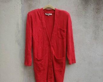 NORMA KAMALI Jacket Red Vintage Norma Kamali Style Blazer Coat Medium