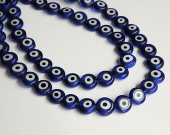 Cobalt Blue Evil Eye lampwork glass beads flat round 10x4mm strand PLK193