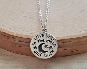 Love You to the Moon and Back Necklace, Sterling Silver Love You to the Moon and Back Necklace, Love You to the Moon and Back Quote Necklace