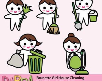 Planner stickers clipart, planner girl clip art commercial use / brunette brown hair girl house cleaning / vacuum cleaning, throw trash