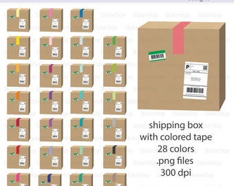 Shipping Box with Colored Tape Icon Digital Clipart in Rainbow Colors - Instant download PNG files