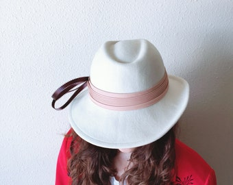Vintage Fedora Hat Floppy Brim and Ribbon Mod