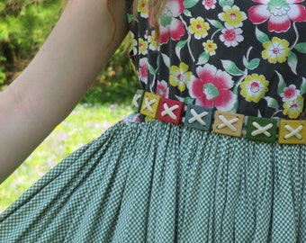 Most unusual 1950's rope and wood block belt