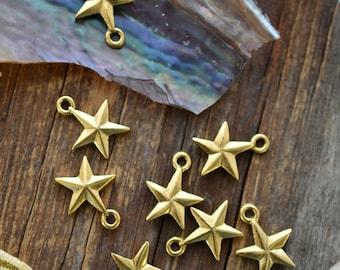 Antique Gold Mini Star Charms, 11x14mm, 2pcs / Nunn Designs, Star Pendants, Patriotic, Beach Charms, Sea Star, Jewelry Supplies