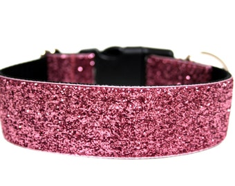"""Sparkle Dog Collar 1"""" or 1.5"""" Pink Glitter Dog Collar"""