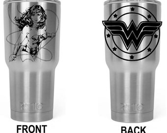 Custom Laser Engraved to order 30 oz Stainless Steel tumbler Wonder Woman super hero