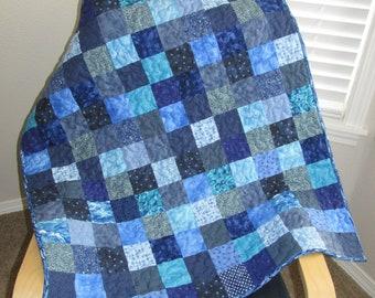 Blue Blocks baby quilt toddler quilt