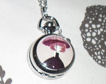 Mini-Montre Pocket l purple umbrella girl.