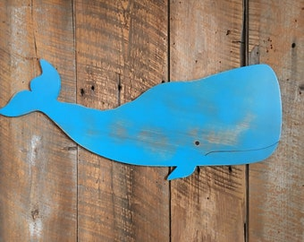 "Wooden 28"" Sperm Whale - Wall Art Indoor Ocean Beach Decoration"