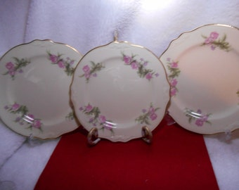 3 VR 437 Homer Laughlin Virginia Rose Bread and Butter Plates Pink and Purple Flowers Gold Trim ~ Wayside or Hether Rose