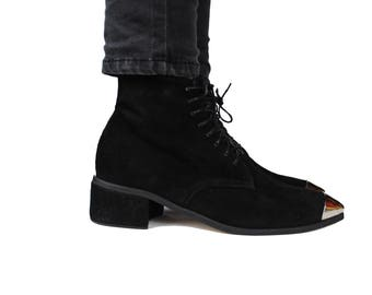 Black Suede Boots, Metal toe, Lace up Boots, Black leather boots.