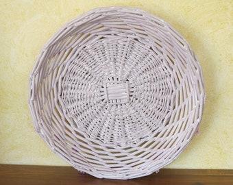Empty restyled vintage wicker basket, Wicker, jewelry, Bohemian decor, wicker storage Pocket