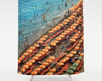 Shower Curtain, Positano Italy Beach Umbrellas, Italy Shower Curtain, Positano Shower Curtain, Beach Shower Curtain, Gifts for Her, Positano