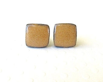 SALE! Square Ceramic Earrings. Curry. Black Porcelain. Amber Gold. Ochre. Clay. Topaz. Earth Tone. Surgical Steel. Studs. Cube. Minimalist