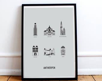 Poster Antwerp A3 screenprint -  11.4 x 16.5 in - A3 - Clouds