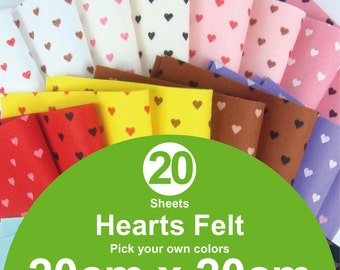 20 Printed Hearts Felt Sheets - 20cm x 20cm per sheet - Pick your own colors (H20x20)