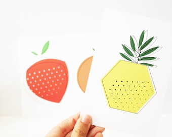 Set of three cards postcards fruit graphics