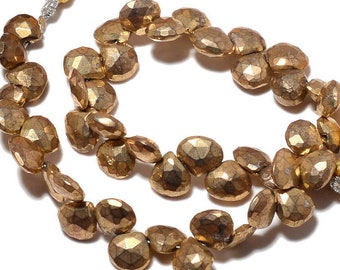 """Coated Gold Pyrite Faceted Heart Briolette Gemstone Loose Beads Strand 8"""" 8mm - Jewelry Making"""