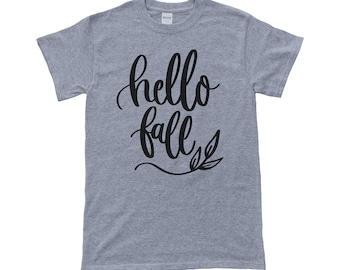 Hello Fall T-Shirt - Mens Shirt - Womens Shirt - Autumn - Halloween - Seasonal Tee-Shirt - Heather Grey & Black - More Colors Available