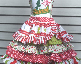 Ready to Ship Grinch Whoville  Girl Dress Will Fit Size 5 or 6
